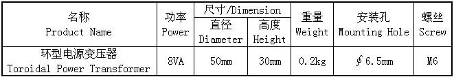 8VA小型变压器的尺寸大小