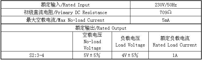 5VA小型变压器的输入输出电参数