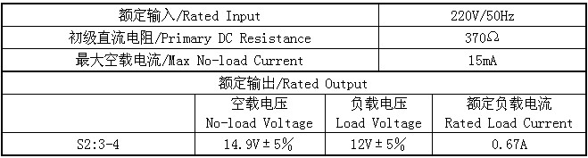 8VA小型变压器的输入输出电参数